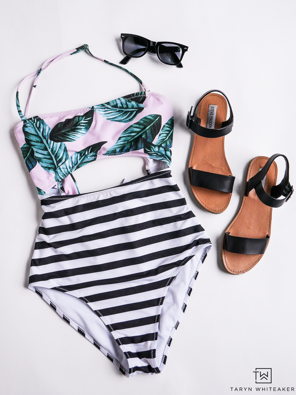 Modest and cute black and white striped one piece!