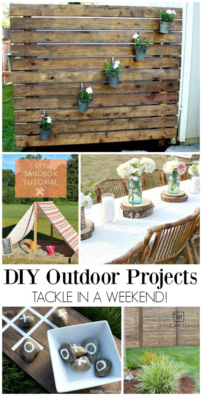 Does your yard or exterior need a little sprucing up? Here is a great list of tangible DIY Outdoor Projects you can tackle in a weekend!