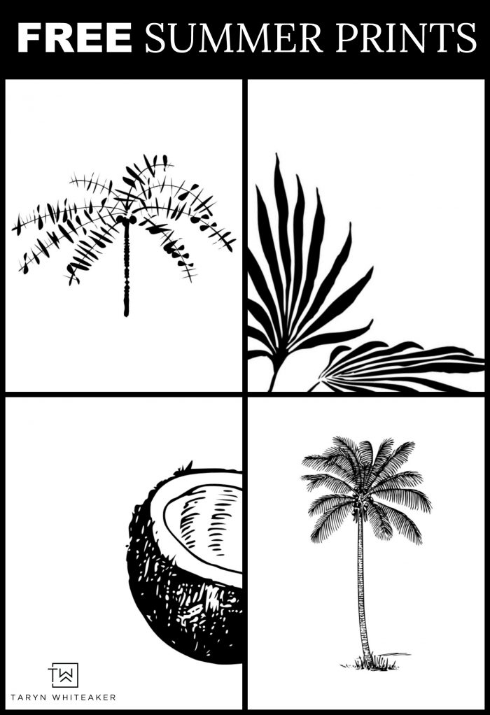 image regarding Free Printable Black and White Images titled Black and White Tropical Printables - Taryn Whiteaker
