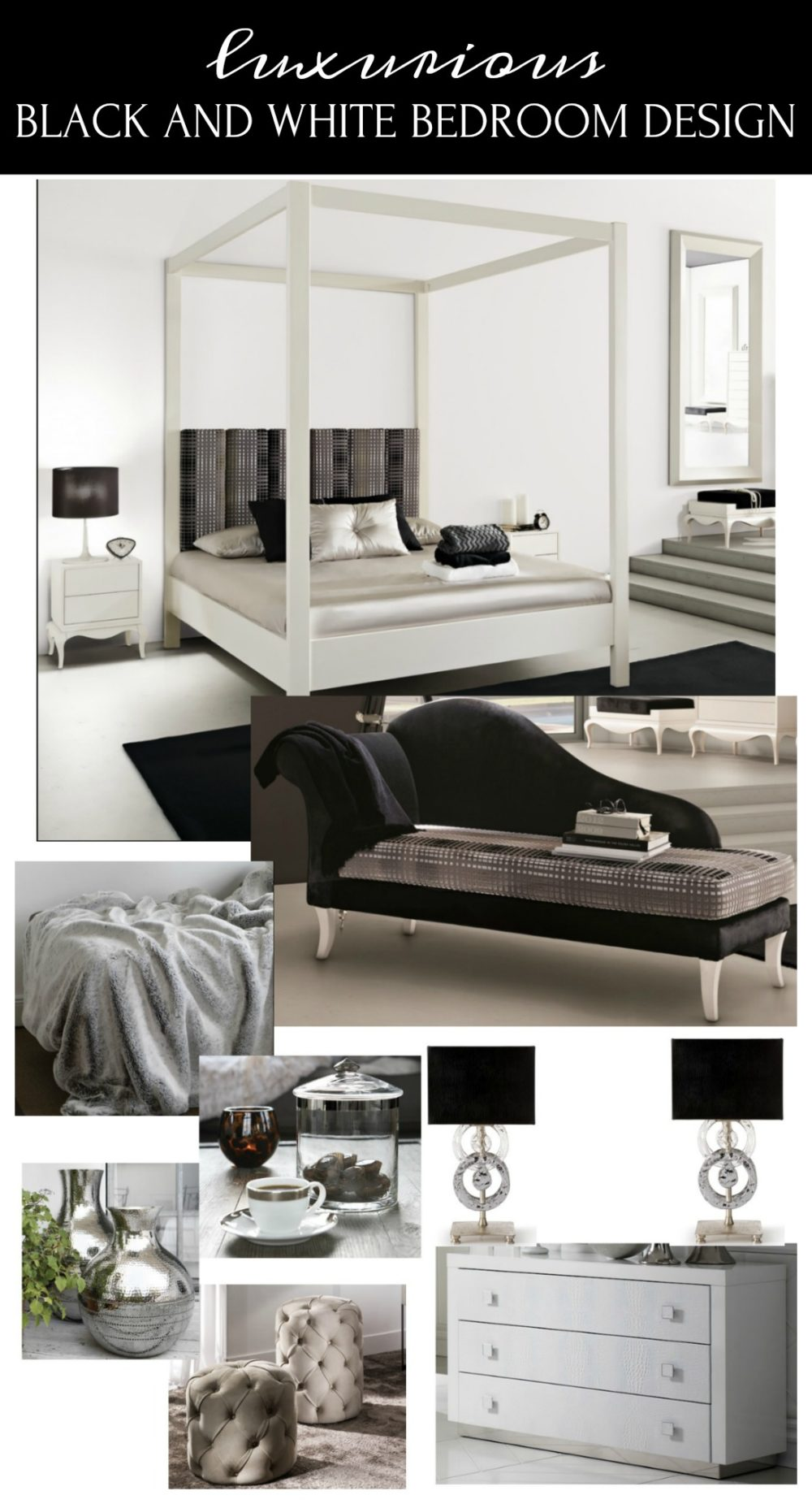 This luxurious black and white bedroom design combines modern lines with traditional pieces.