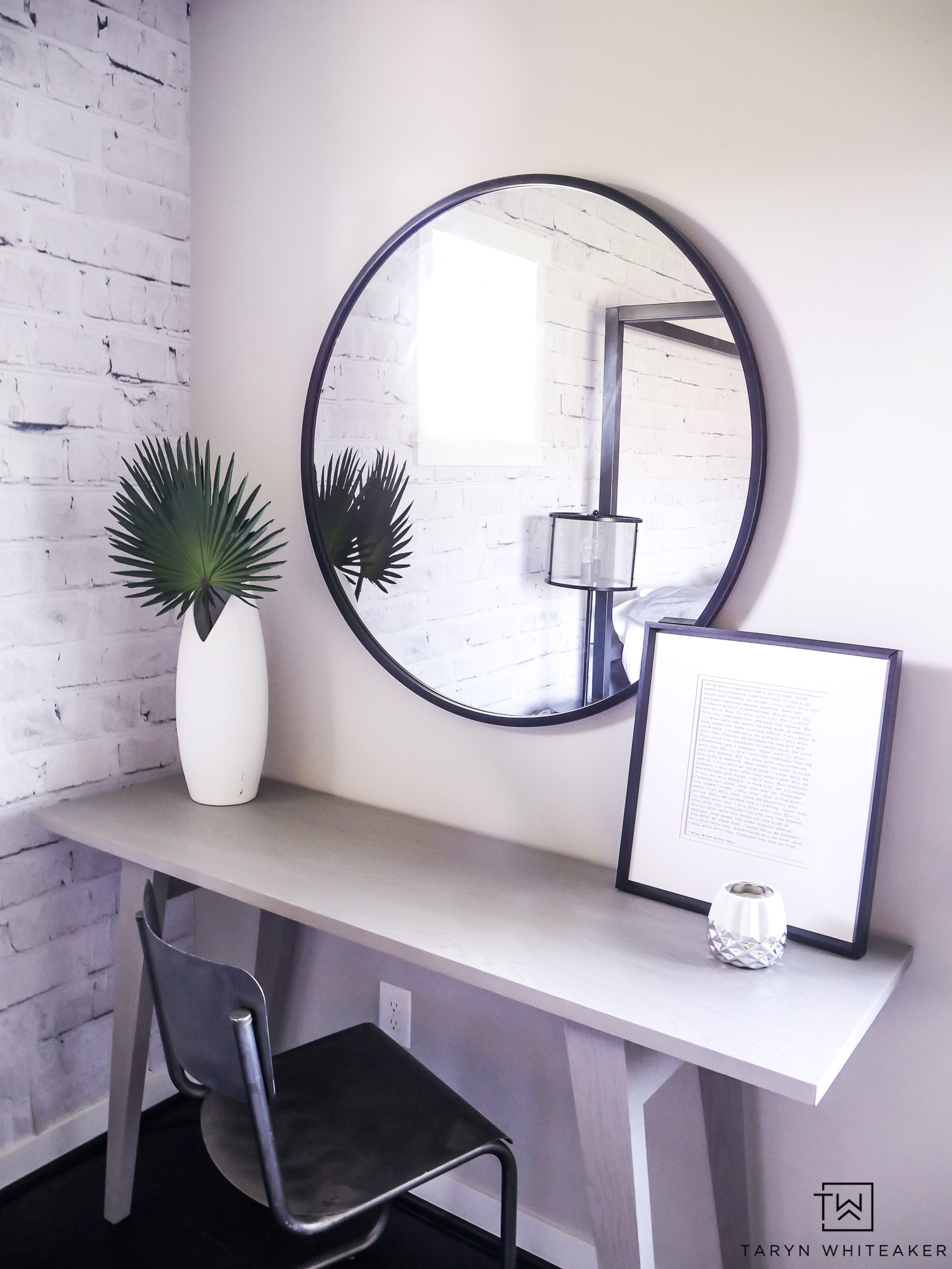 Turn a born corner into a functional space with this cute master bedroom desk decor! Love this clean modern look for a room, clutter free is the way to go!
