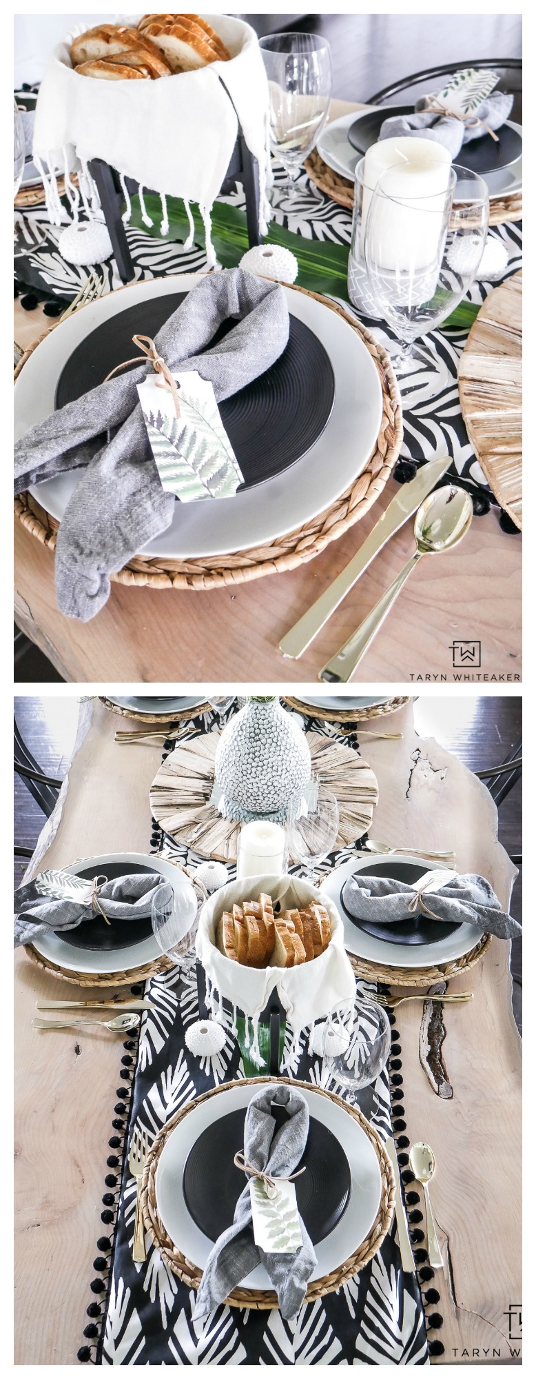 Impress your guests with this tropical dinner party decor at your next summer dinner party. This black and white tropical decor is perfect those who love chic modern decor but still want to have fun!