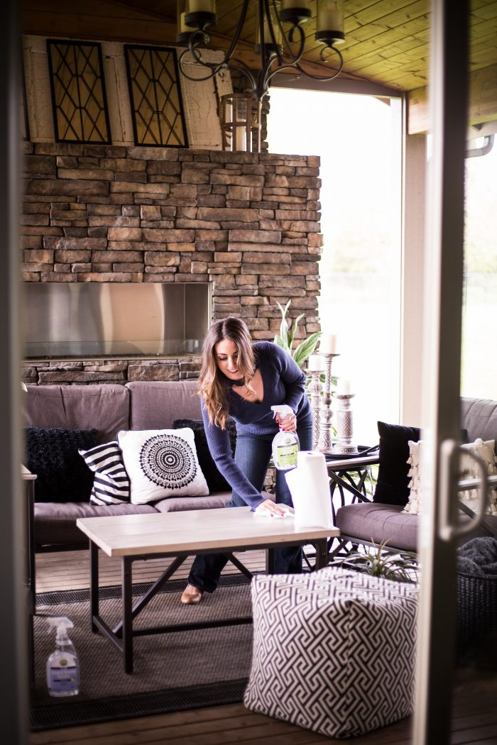 Spring cleaning checklist! Wipe down your outdoor patio and get it ready for the warm weather!