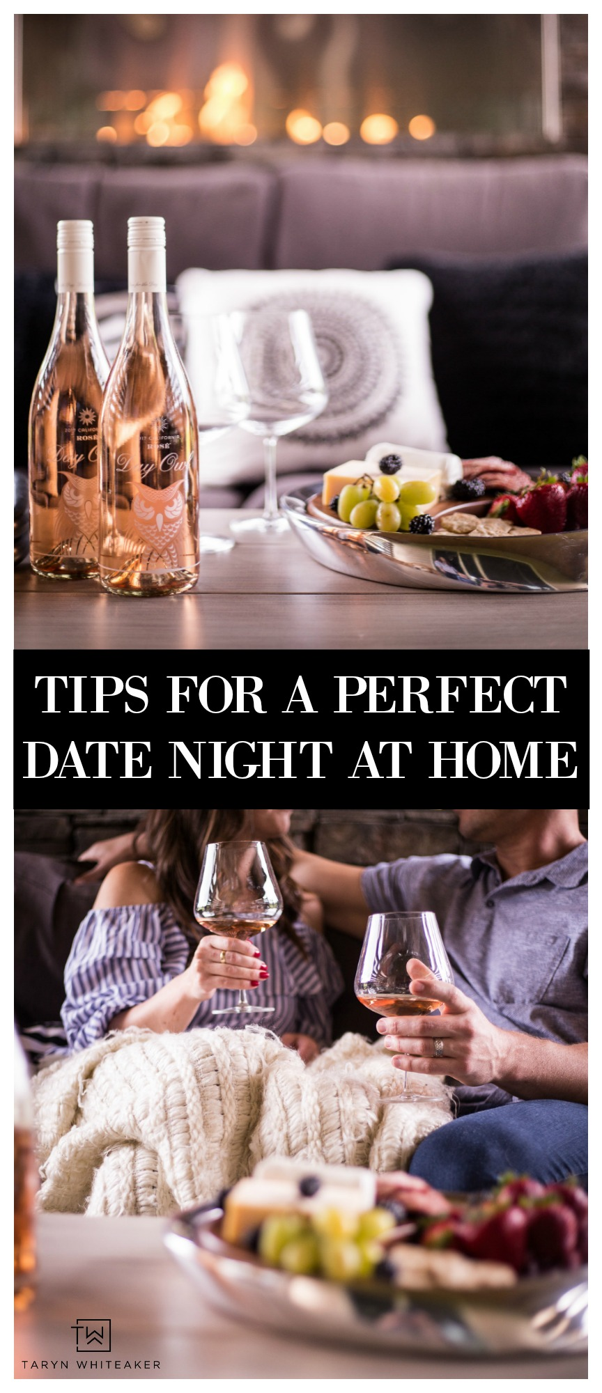 Cozy up by the fire with nice beverage and yummy food for a perfect date night at home with your significant other!
