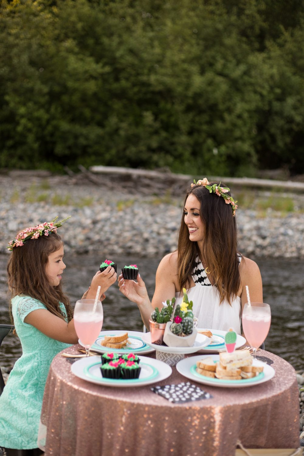 Mom and daughter tea party for two! Love this rose gold table cloth and cactus decor!