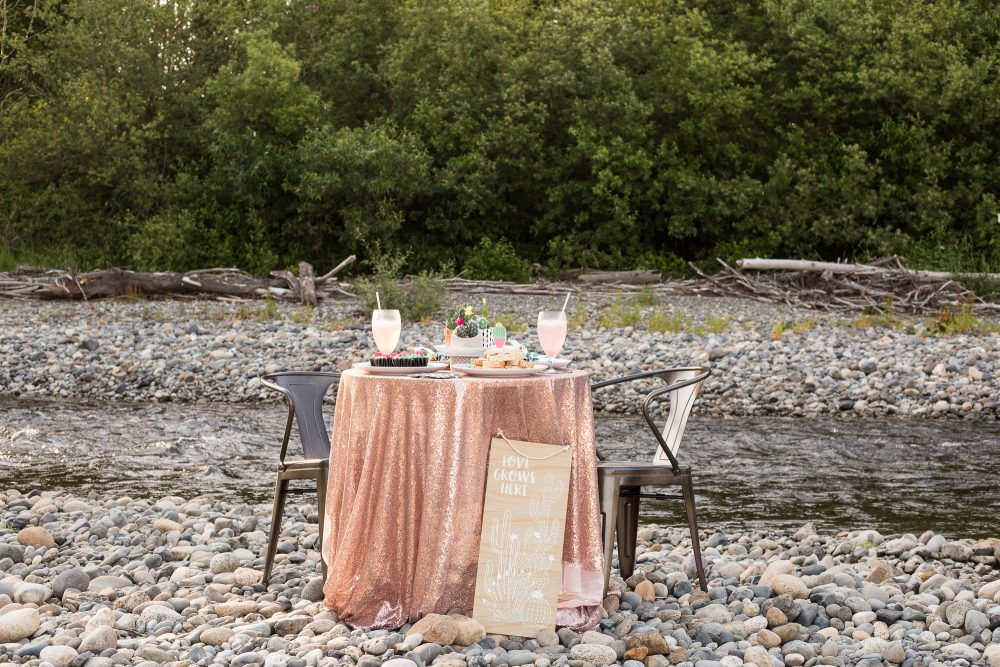Embrace nature and take your dinner party outside! Click to see all the details on this table for two on the river.