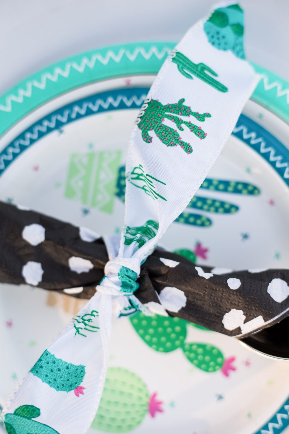 Adorable cactus party decor with black and white accents! This is a cute take on a tea party for two!