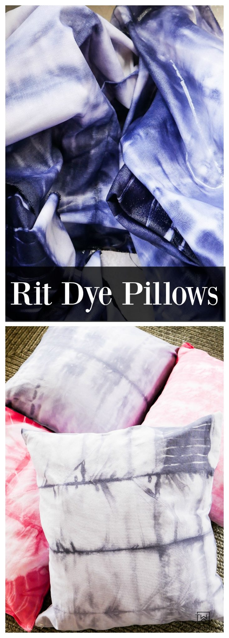 Learn how to make these DIY Rit Dye Pillows inspired by the trendy Shibori Pillows! Follow this tutorial on how to make your own dye patterns.