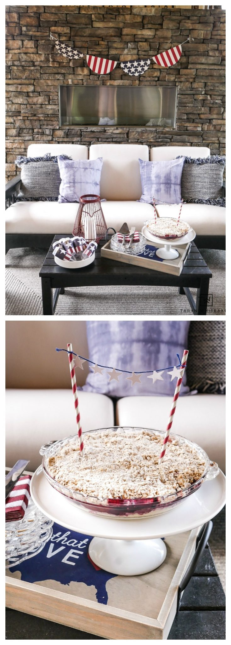 Learn how to add simple fourth of July decorations to your home with some navy throw pillows and coffee table decor.