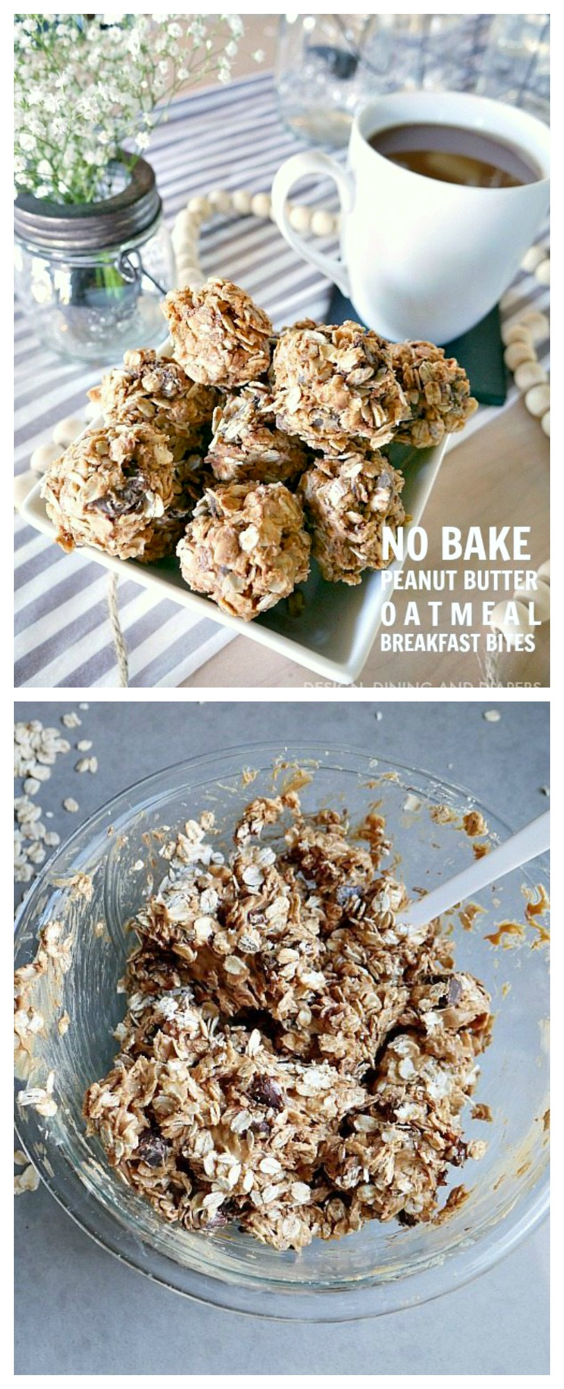 These Peanut Butter and Chocolate Oatmeal Breakfast Bites are the way to go! This easy no bake breakfast recipe is perfect for a quick bite in the morning!
