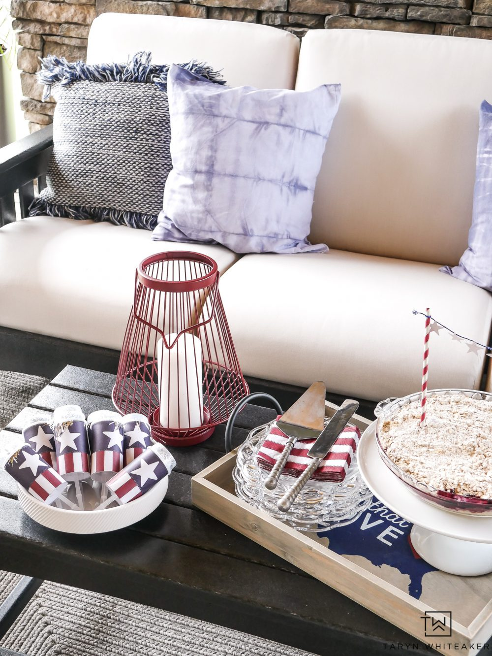 Love the red, white and blue decor to add to your coffee table. I love this wire lantern and cute tray for dessert. Those party poppers are so fun for kids.