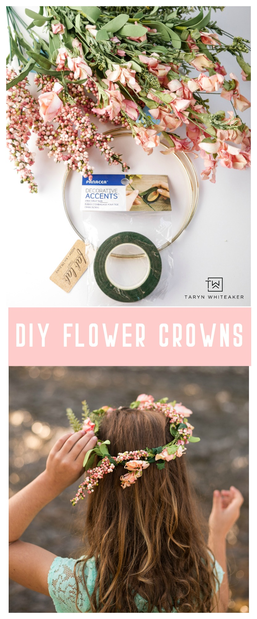 Learn how to make your own DIY Flower Crowns for your next party or adventure! This simple craft can be made in a few minutes!