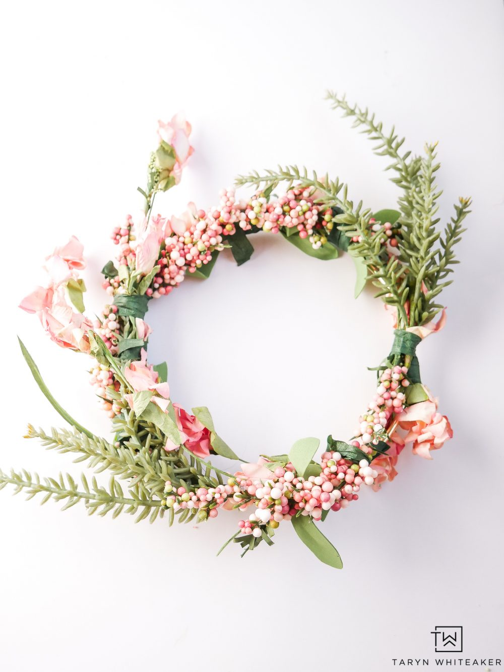 Make your own pink flower crowns for your next party!