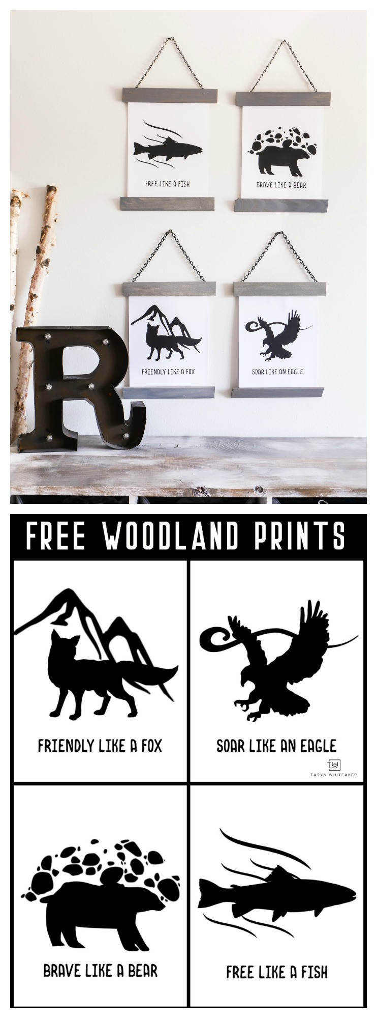 Download your own set of these FREE Woodland Printables ! Super cute for a cabin for mountain inspired bedroom. A tuitorial is availabe for the frames too!