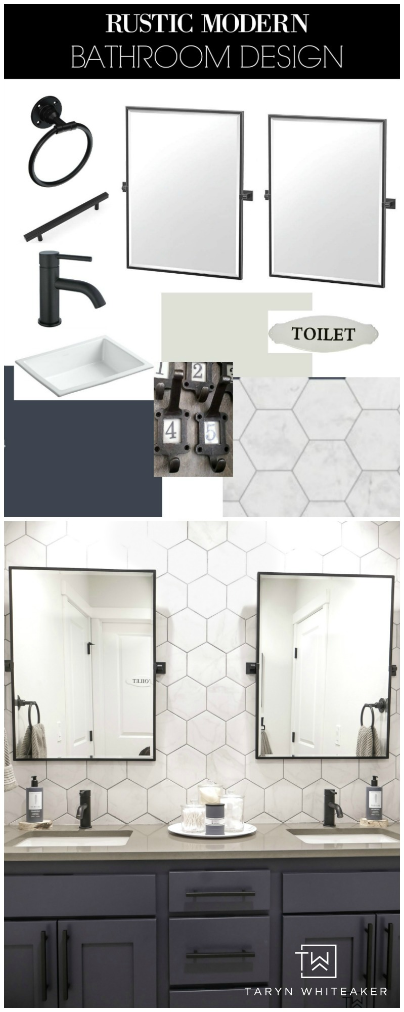 Get all the details on this Rustic Modern Bathroom Design! This post has direct links to all the products, most are very reasonably priced!