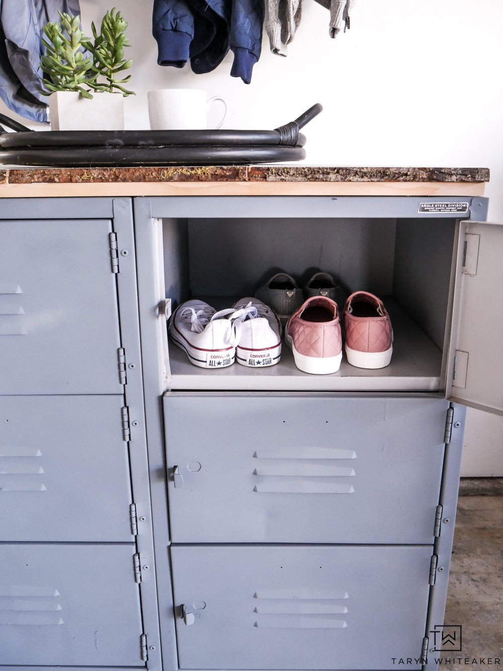 Get rid of those piles of shoes in the garage and help keep them organized with a cute locker system.