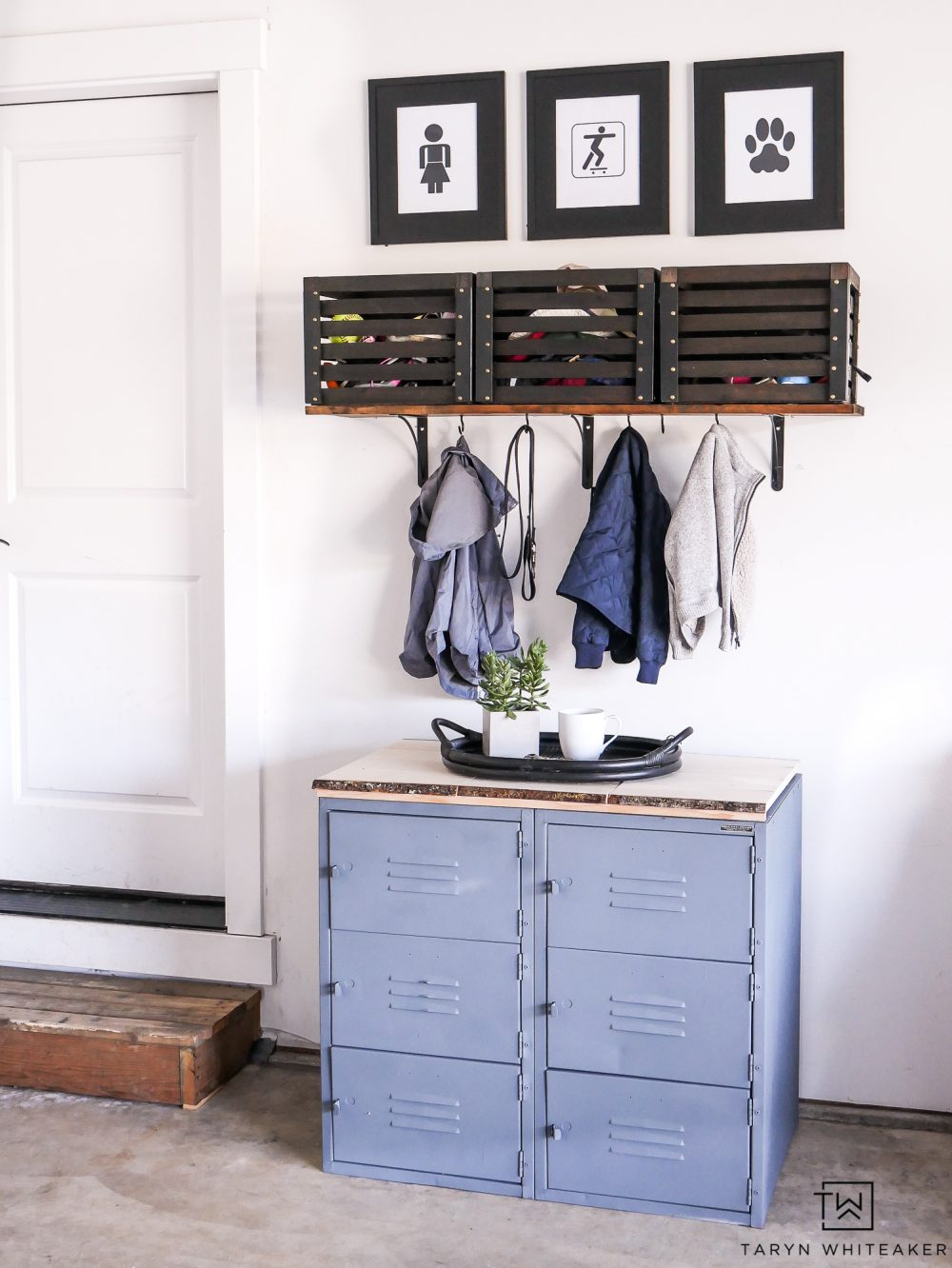 Great idea for more garage organization! Love this rustic modern take on a drop station for kids!