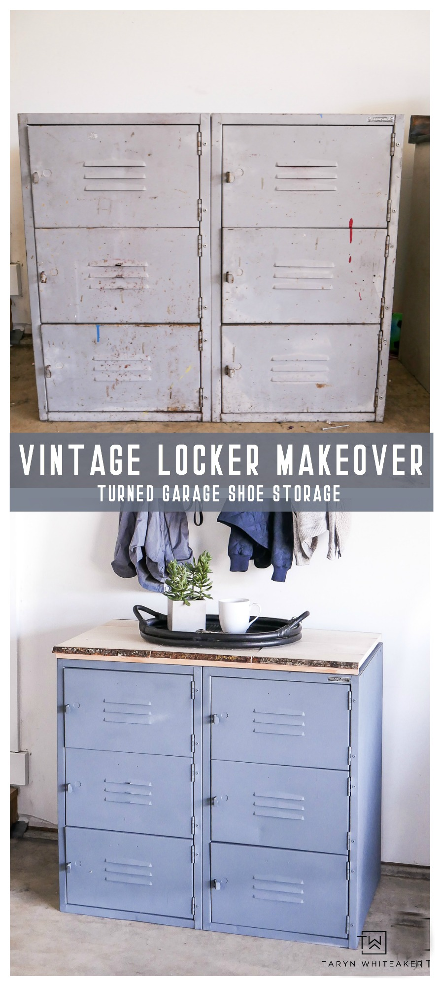 Love this vintage locker makeover project, perfect for more garage organization. Click for great tips on painting metal and creating your own DIY Wood top!