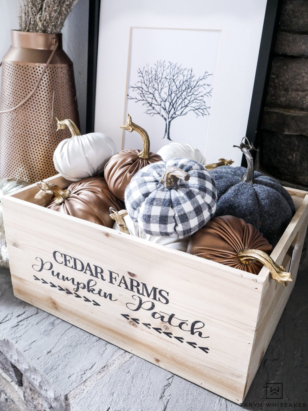 Love all these fabric pumpkins in different patterns inside this adorable pumpkin patch crate. All can be found at JOANN Stores!