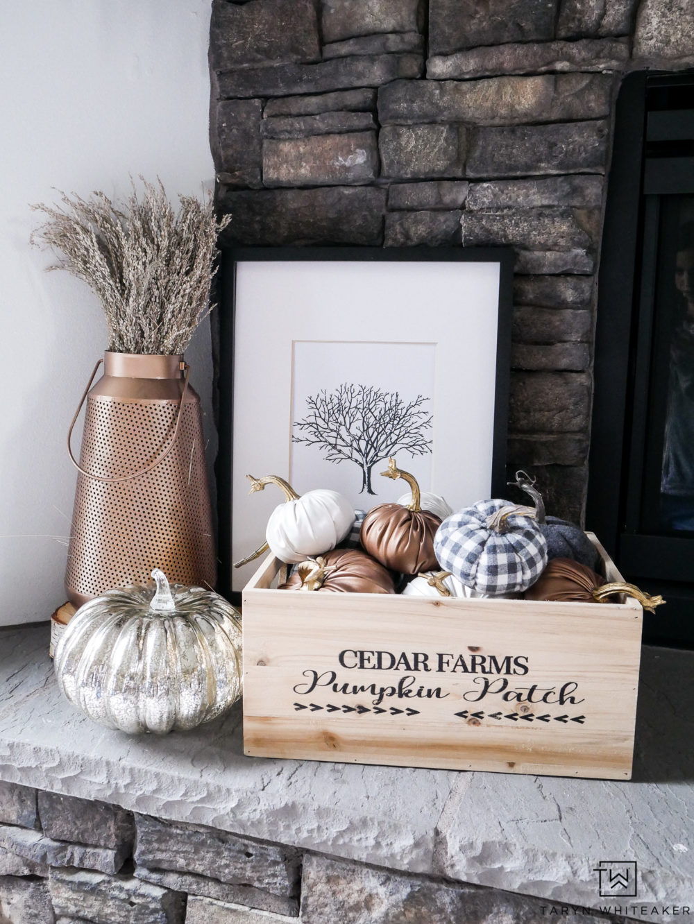 You can never have too many pumpkins! Fill a fall inspired box with tons of little pumpkins in various colors and textures to add a big splash of fall to your decor.