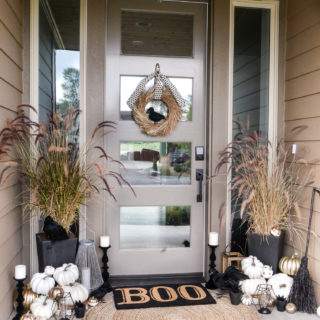 Black and White Halloween Porch Decorations