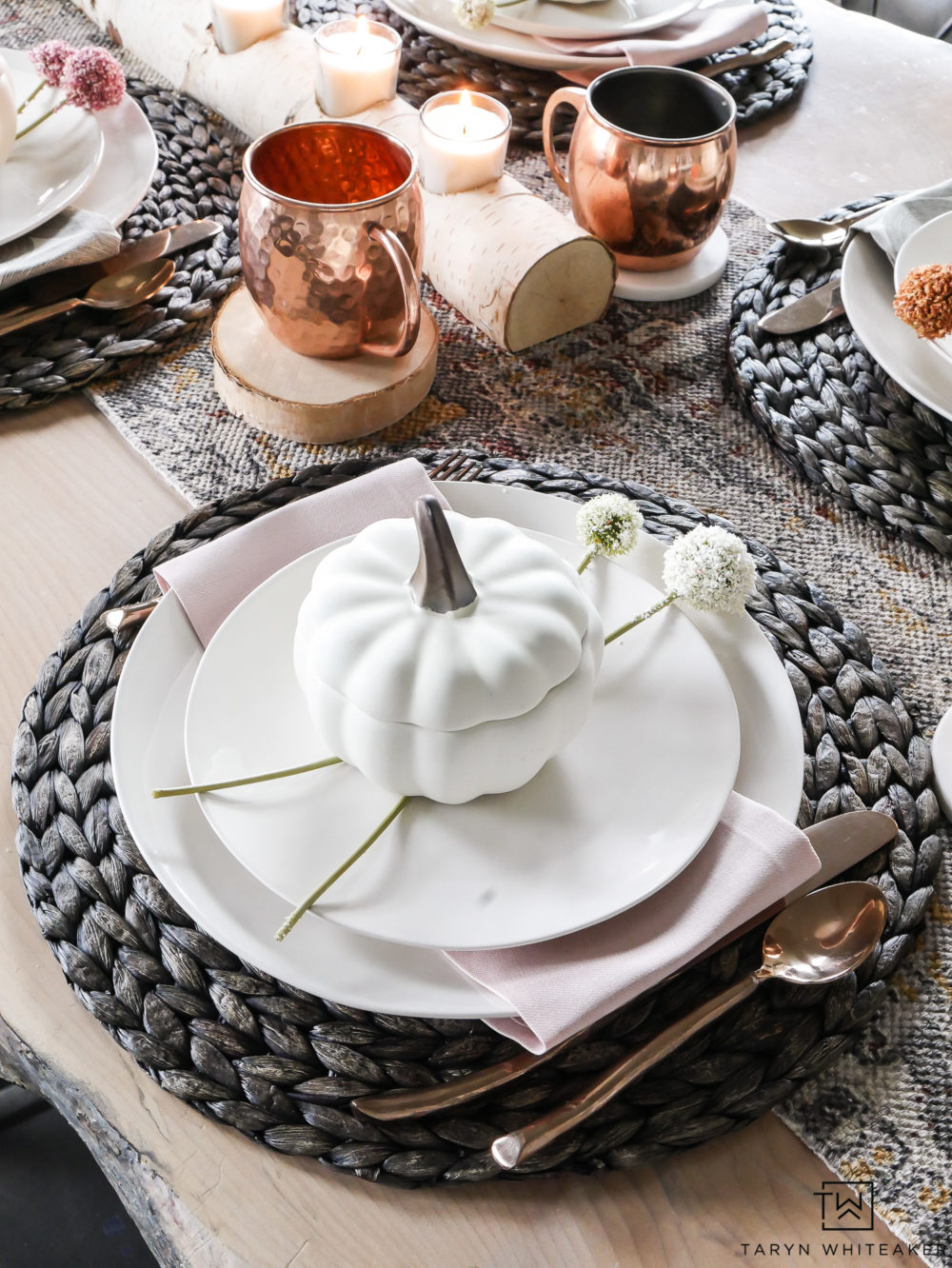 These blush pink fall table decorations are so sweet and create a beautiful soft and whimsical look for fall. Those pumpkin bakers are adorable!