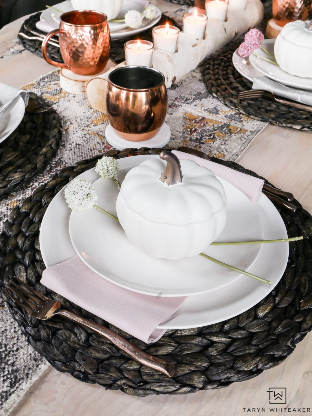 Little pumpkin bakers turn this earth tone table into a classy look for fall.