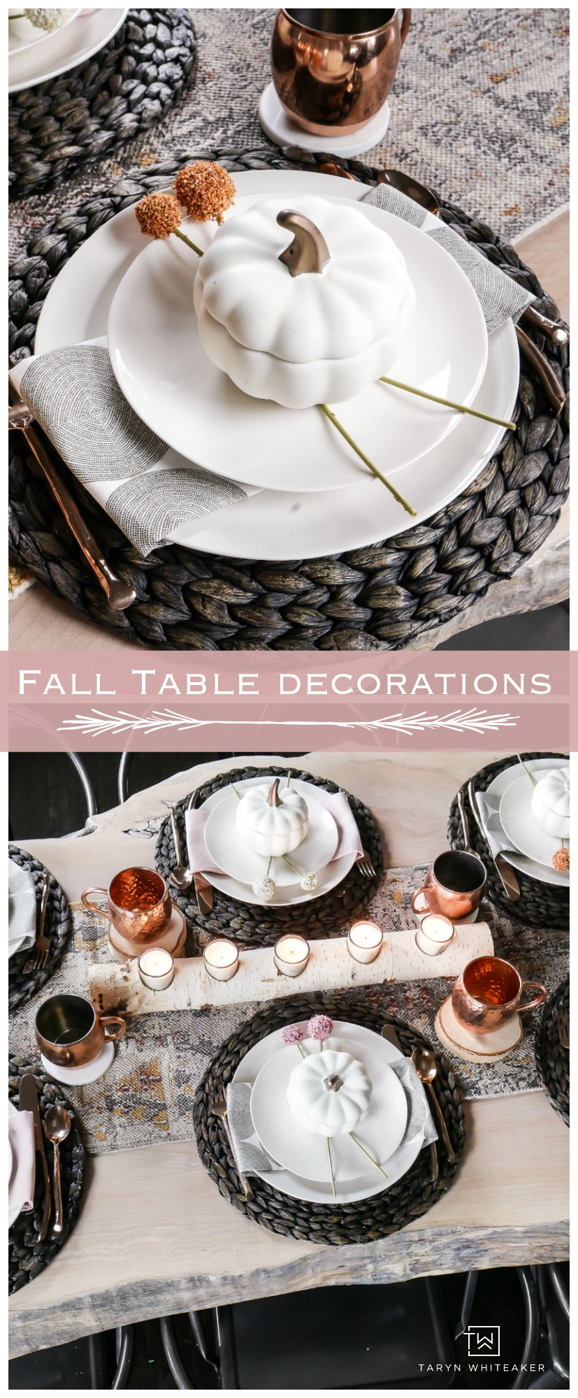 Beautiful Fall Tablescape filled with blush pink fall table decorations and pops of copper.