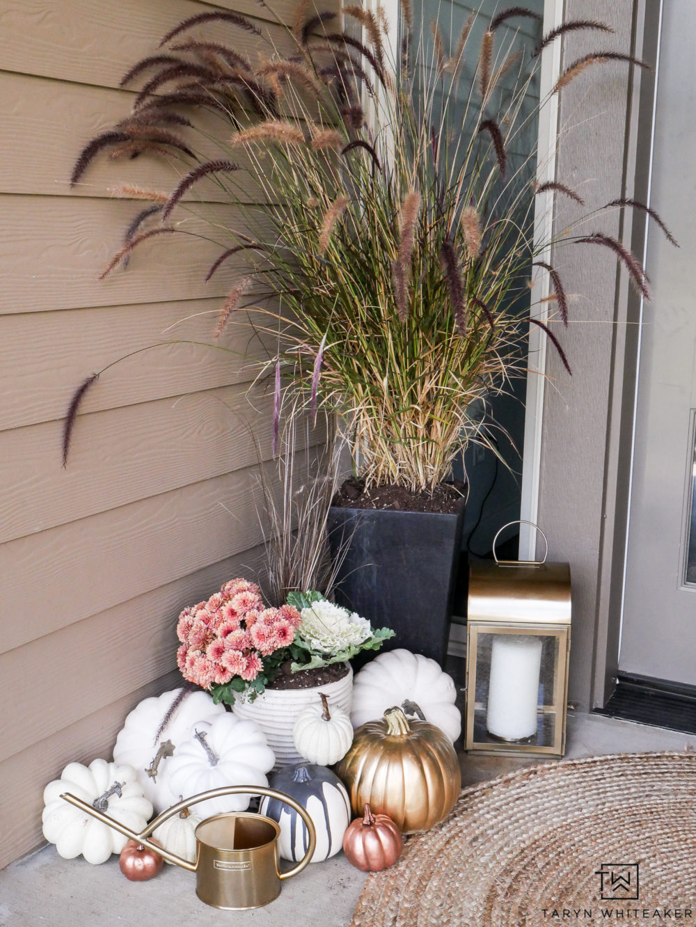 Beautiful fall porch decorations using rose gold and white pumpkins!