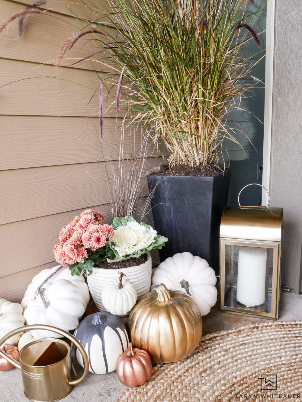 Super cute fall porch decorations with these rose gold pumpkins mixed with white!