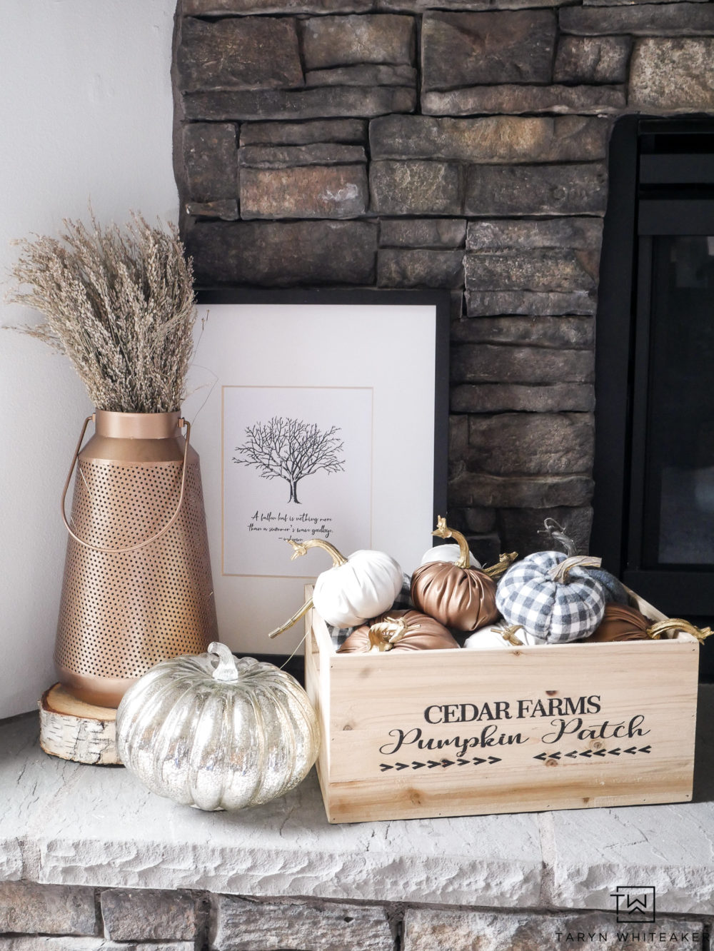 Download your own FREE Fall Printable to decorate your mantel or anywhere in your house!