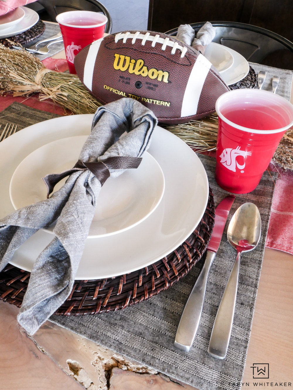 Gear up for football season with this fun football themed tablescape! Your guests will love the casual yet classy football decor to cheer on your team!