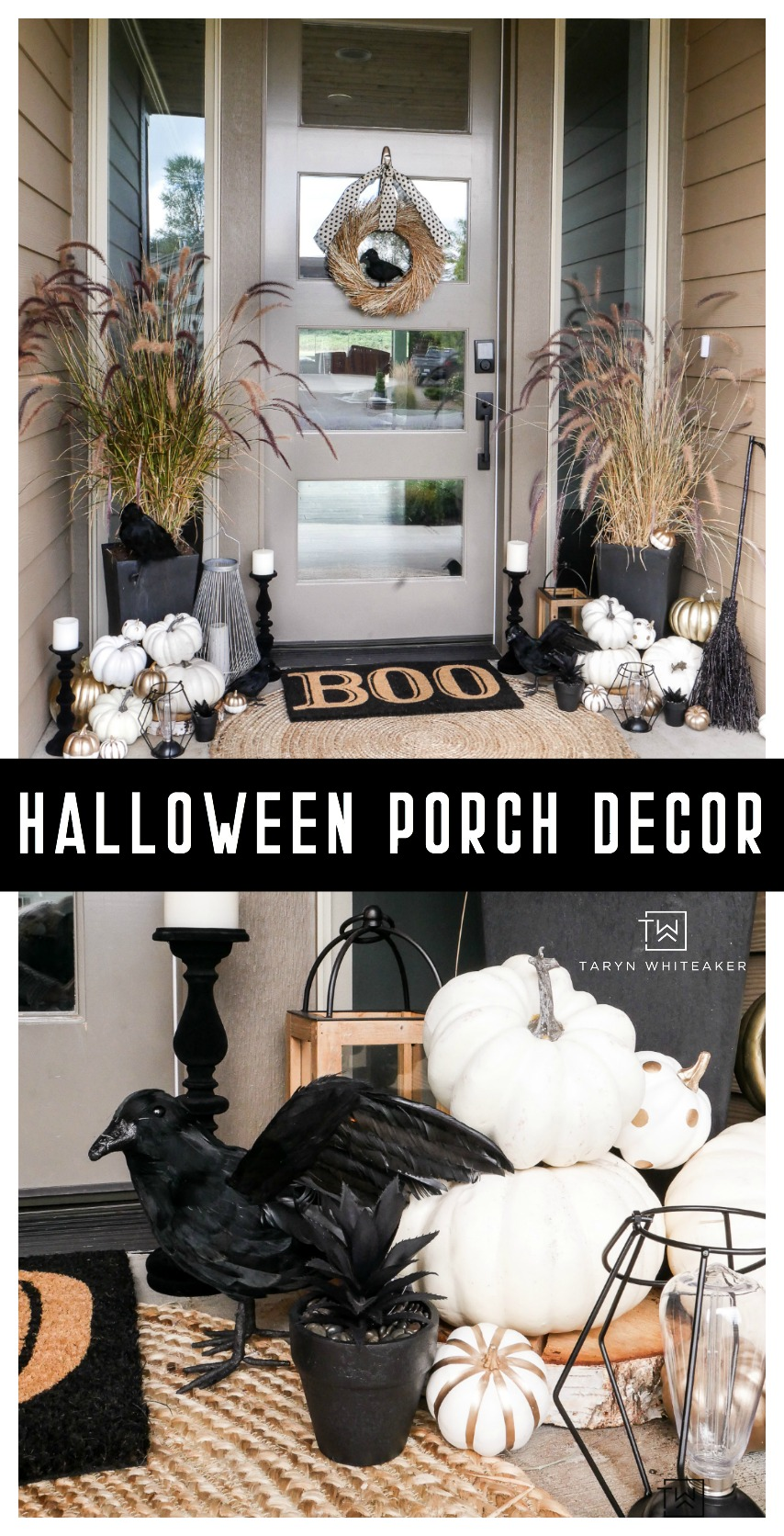 Check out this classy Halloween porch! Love the black and white halloween decor on this modern porch.