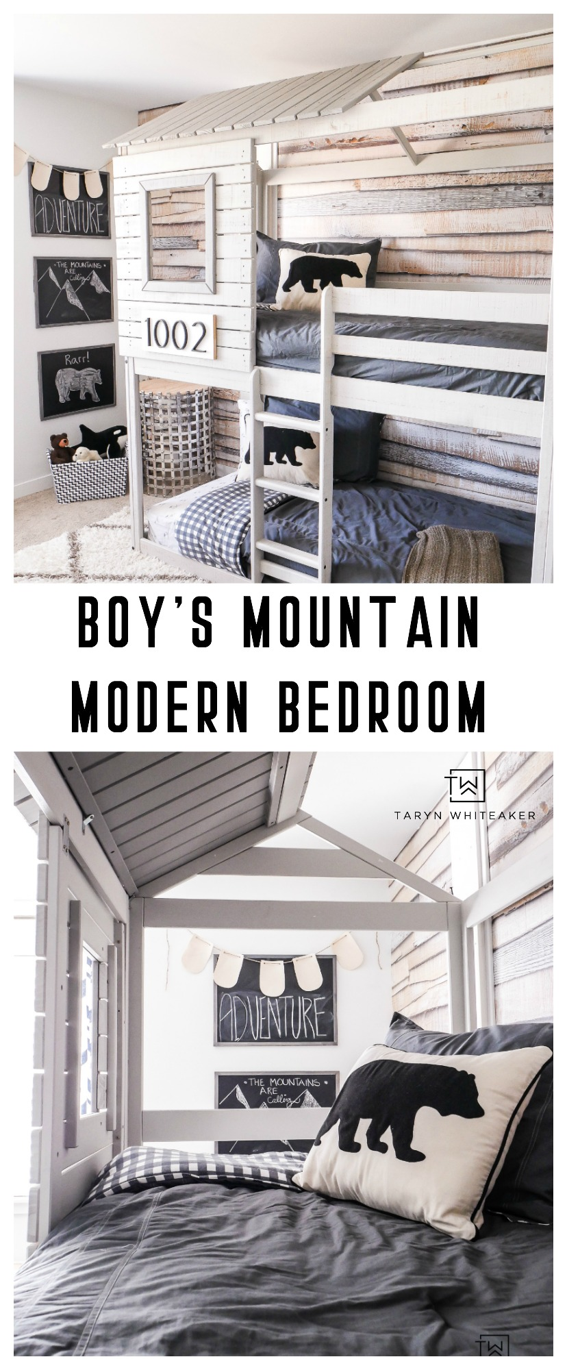 Take a tour of this Mountain Modern Boys Bedroom complete with a treehouse bunkbed and bear accents.