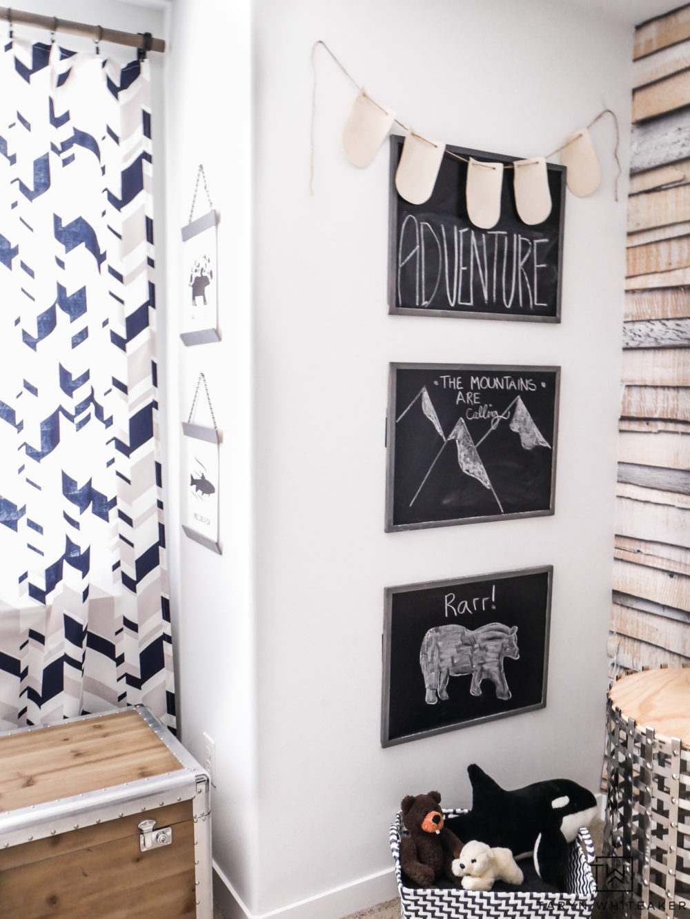 Create your own chalkboard station in a kids' room by putting up three separate chalkboards to create an art gallery.