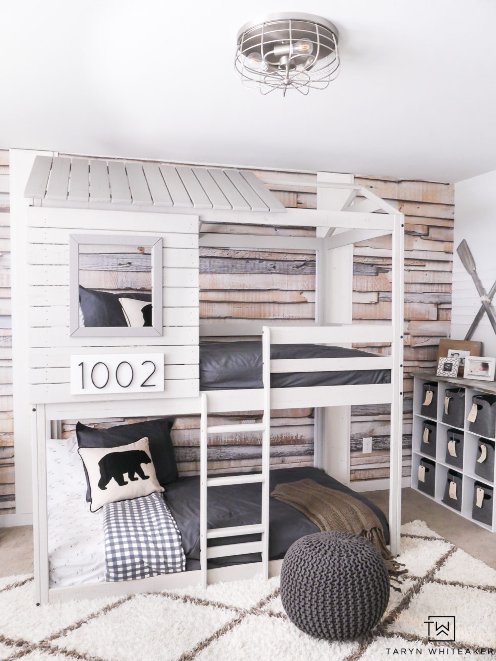 This treehouse loft bunkbed with whitewash wood is the perfect solution for an adventurous boy! Turn your room into a playground!