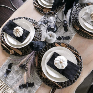 Black and White Halloween Table Decorations