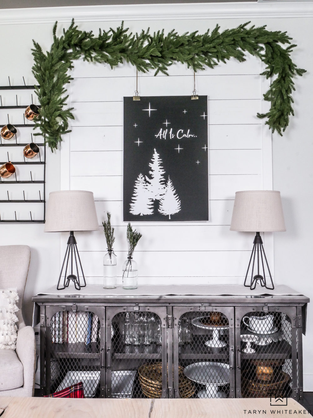 Recreate this rust modern Christmas vignette by downloading your own copy of this free Christmas printable and putting it in your own home!