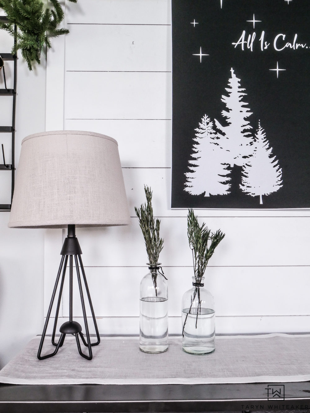 Simple black and white Christmas decor.