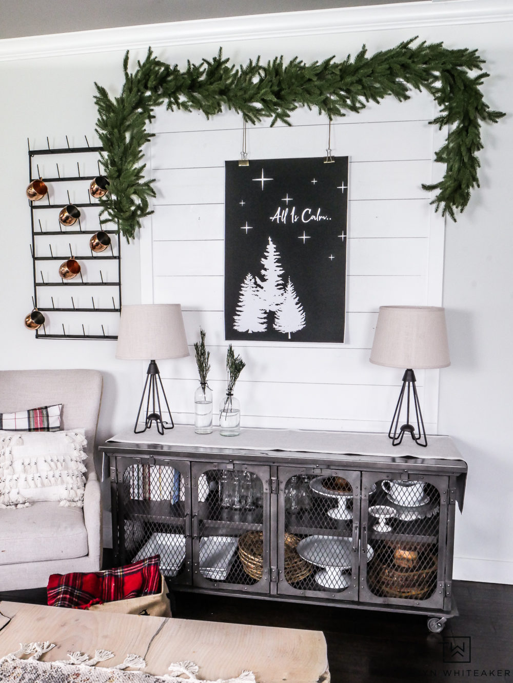 Black and White Christmas Display with pops of greenery and red! Grab your free Christmas print for your own space.