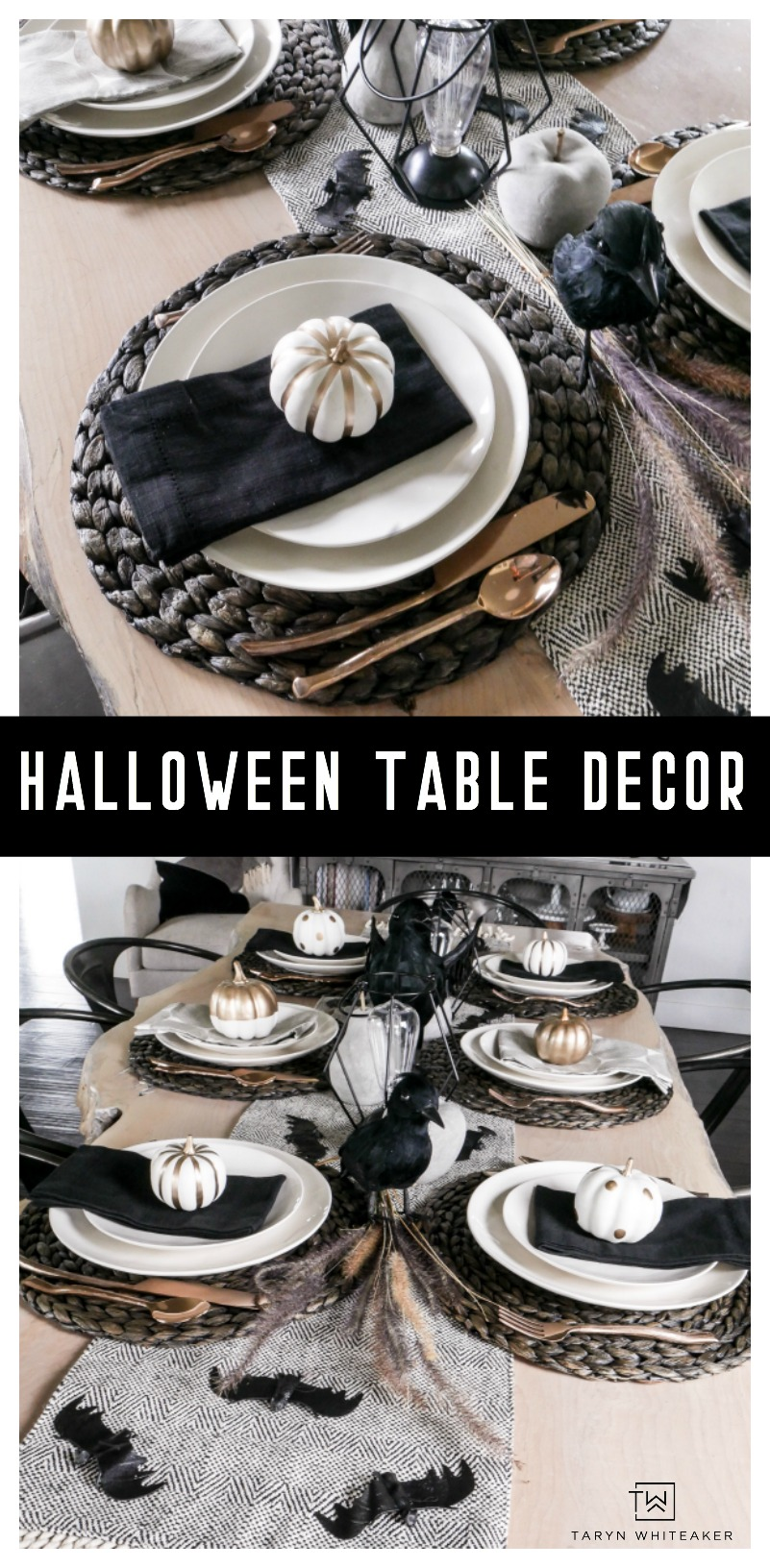 Black and White Halloween Table Decorations with gold accents! Love this classy Halloween table!