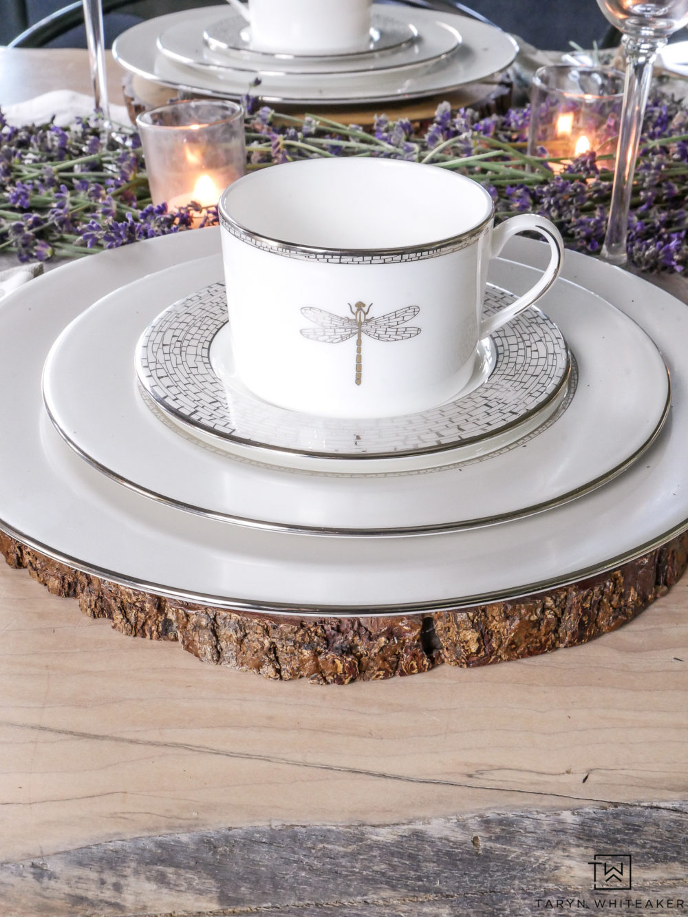Kate Spade June Lane fine china paired with wood round charger.