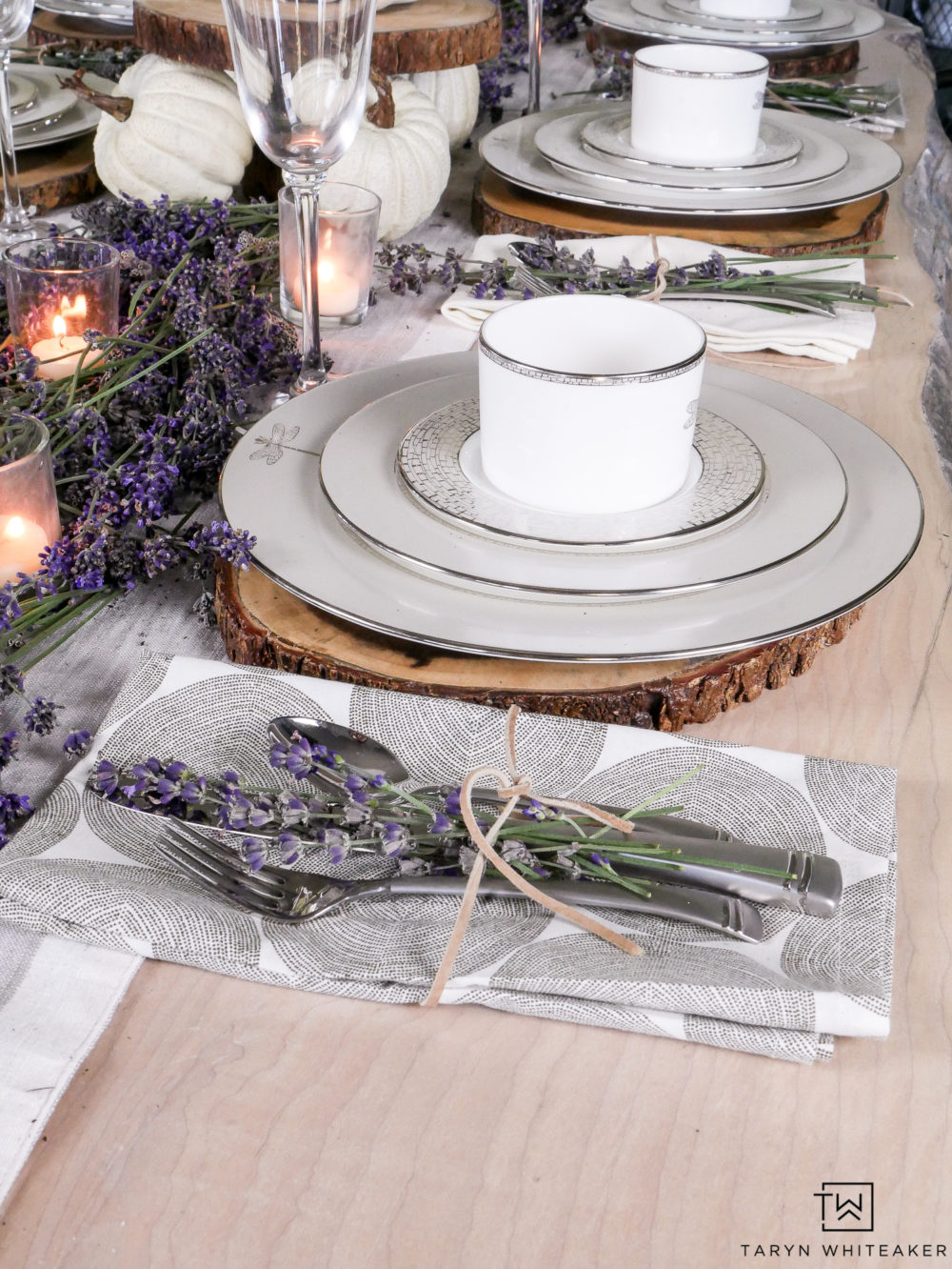 Love pairing this classic fine china with rustic elements and fresh lavender.