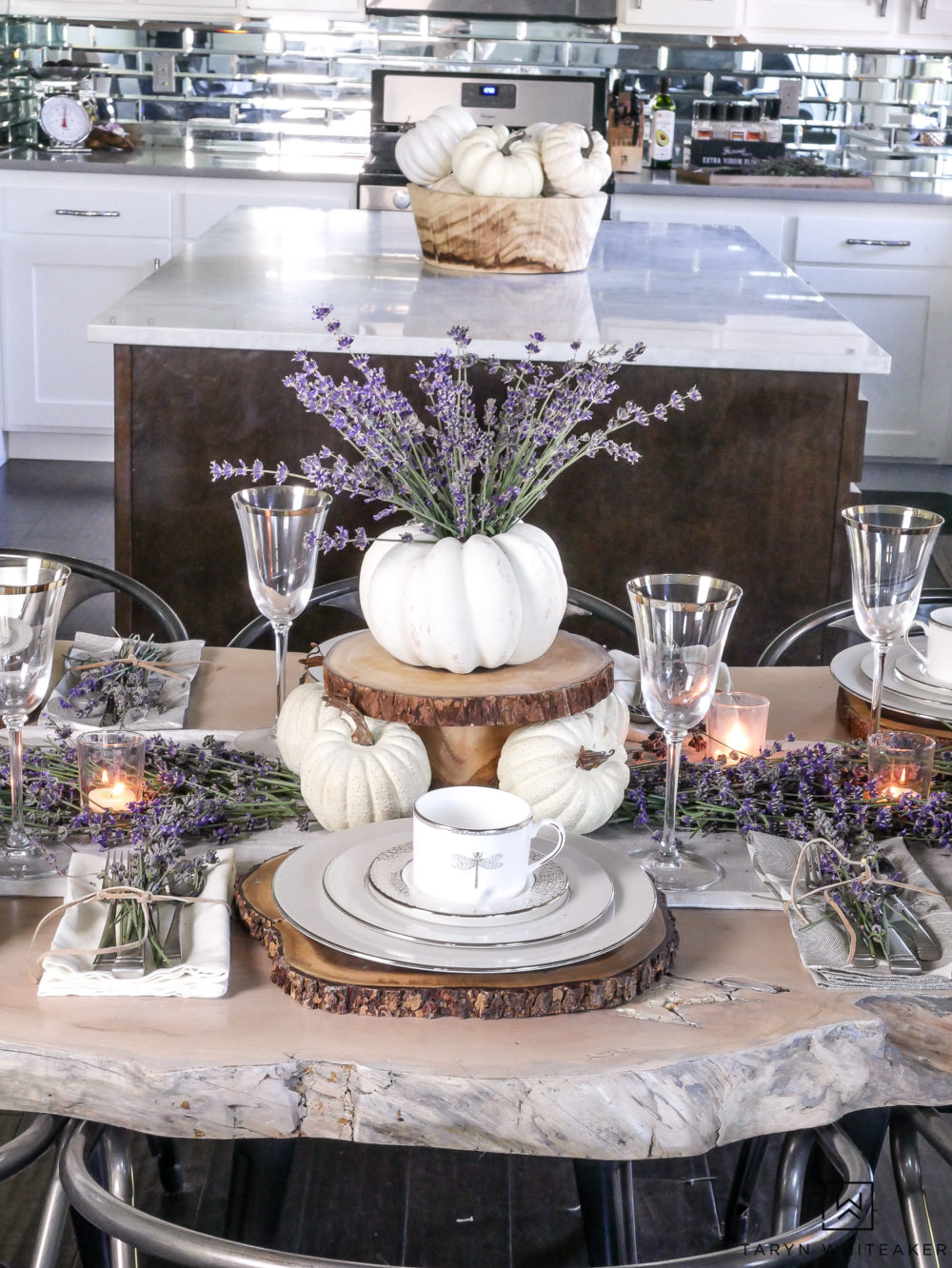 Live edge table all dressed up for fall with fresh lavender and white pumpkins!