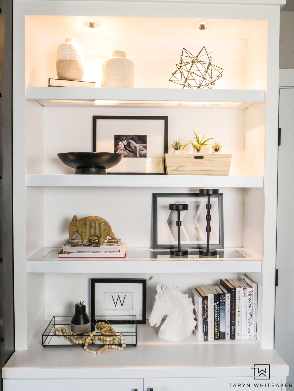 Shelf Styling! Modern Black and white decor on open shelves.