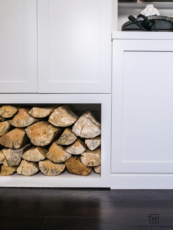 Wood storage in built ins.