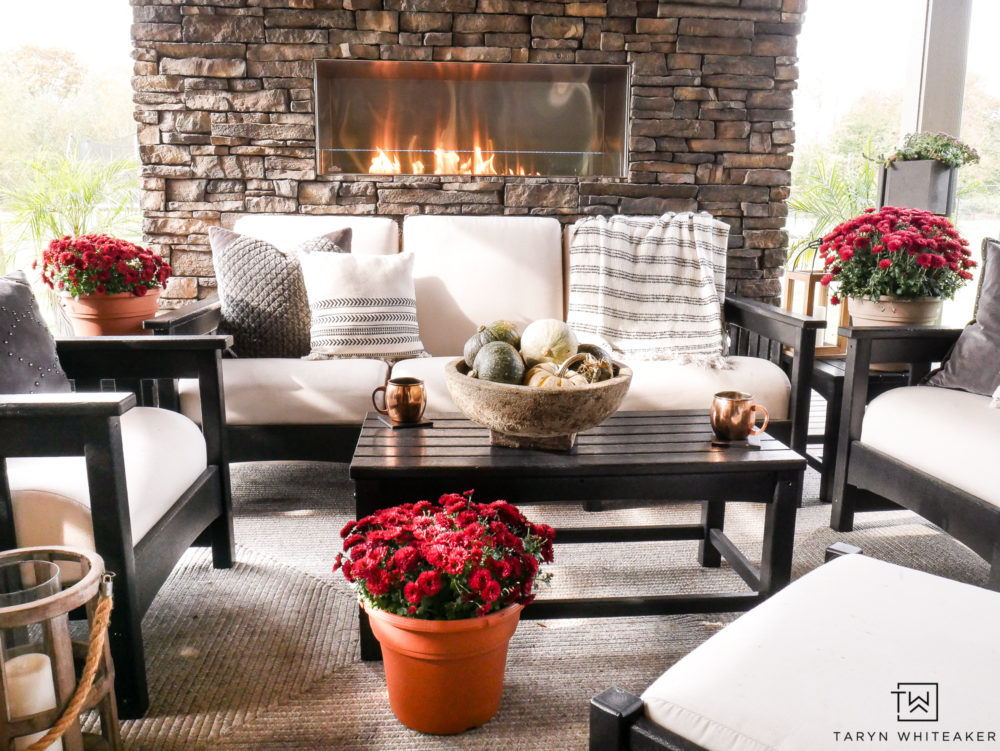 Cozy outdoor living space all decorated for fall!