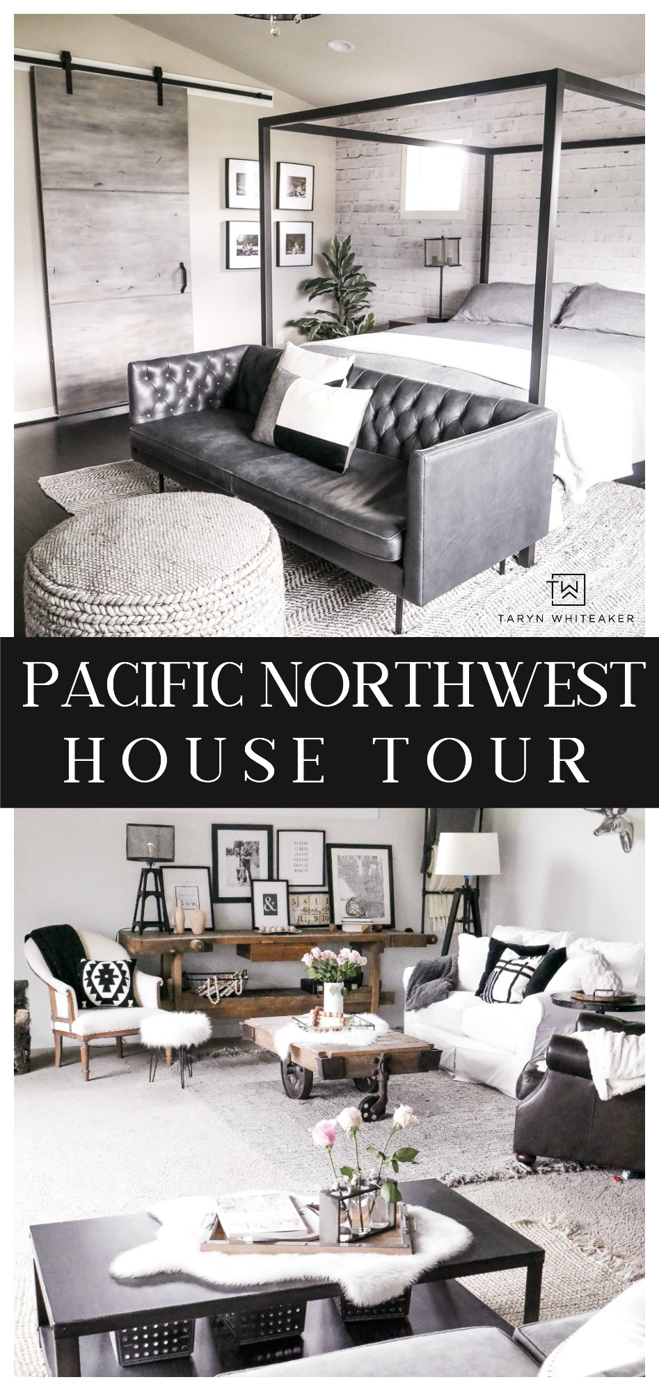 Tour this rustic modern Pacific Northwest Home filled with modern lines and natural elements.