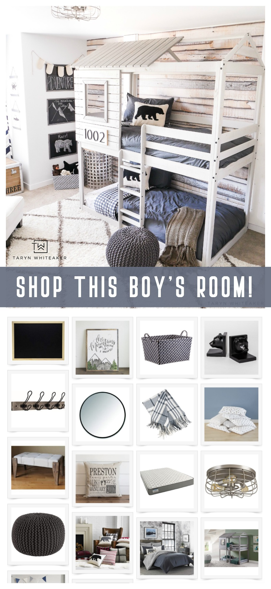 Shop this modern adventure big boy room! Get all the links to design your own space!