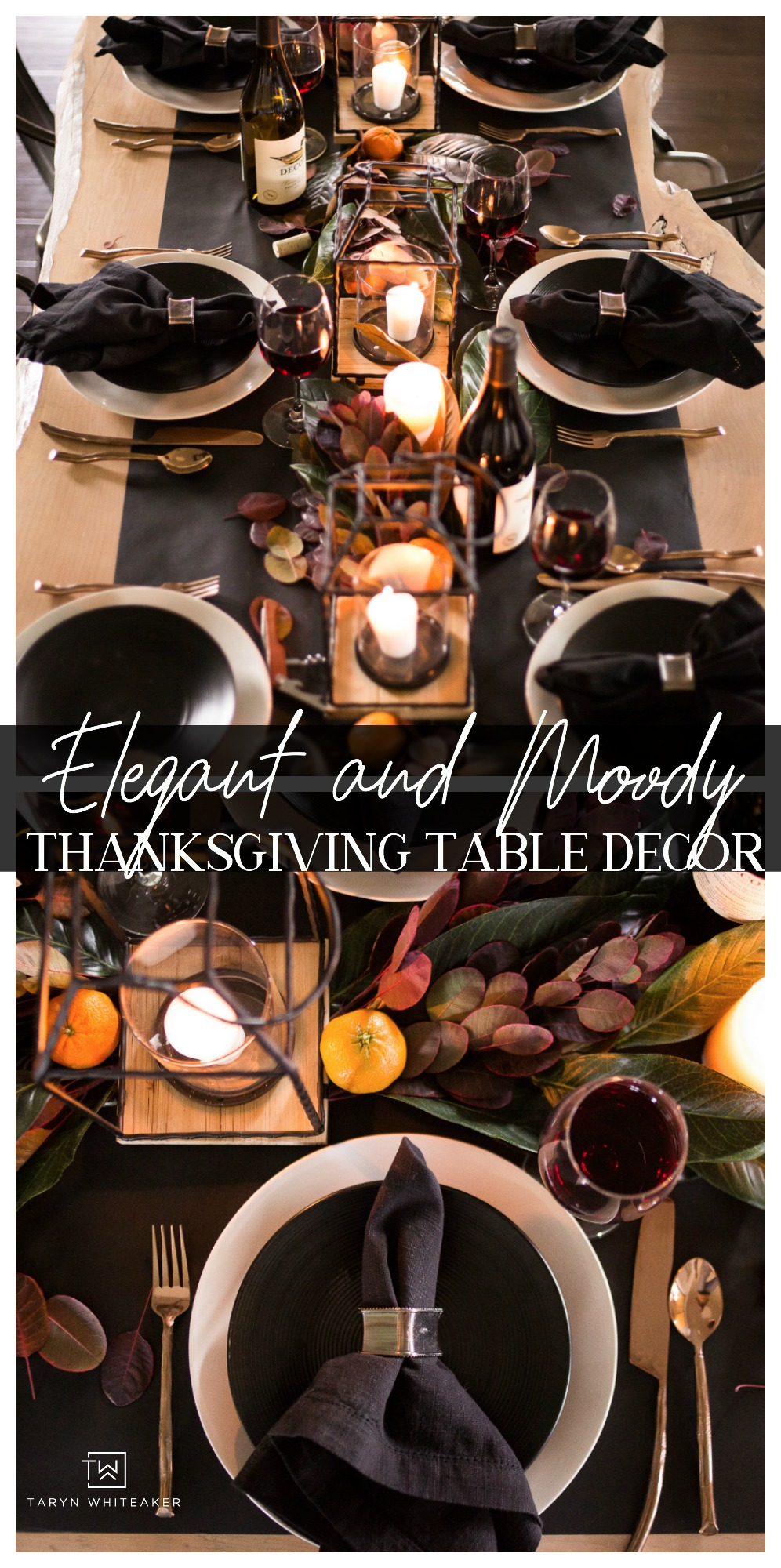 DARK, MOODY AND ELEGANT THANKSGIVING TABLESCAPE FEATURING RICH DARK EARTH TONES WITH MAGNOLIA LEAVES AND COPPER